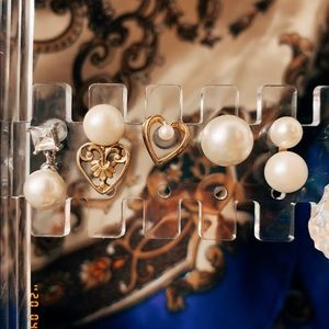 5 single pierced pearl earring lot